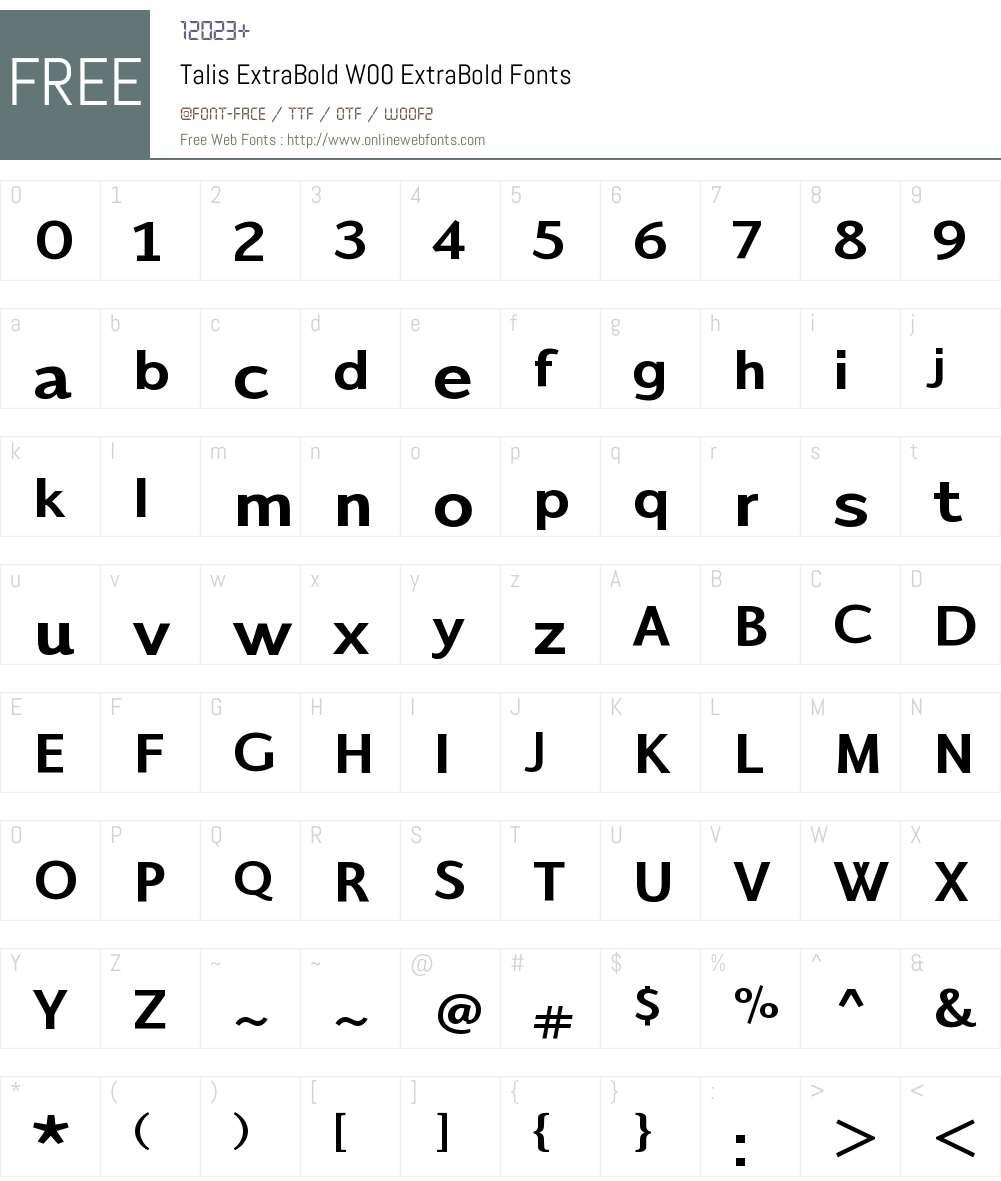 TalisExtraBoldW00-ExtraBold Font Screenshots