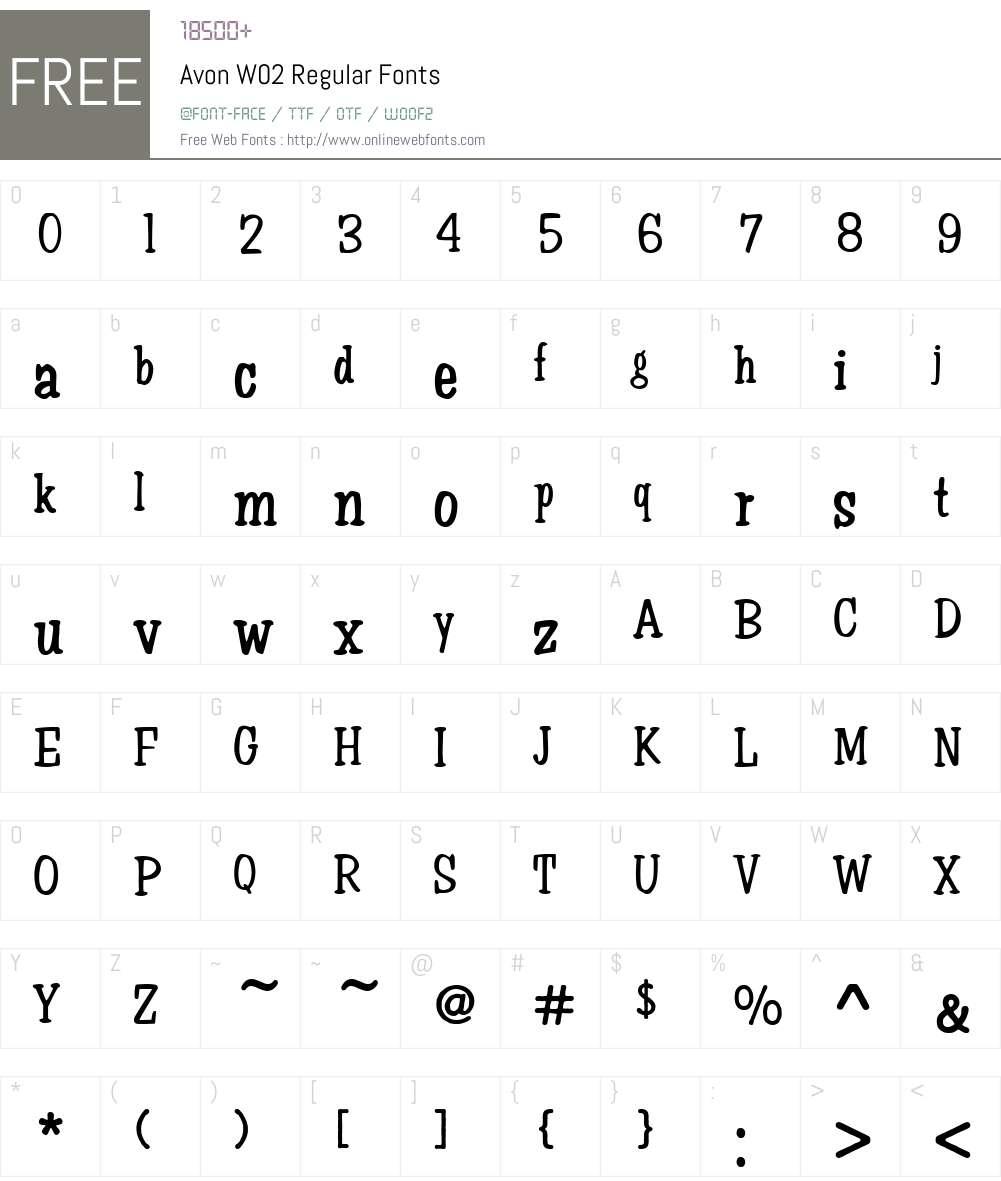 Avon Font Screenshots