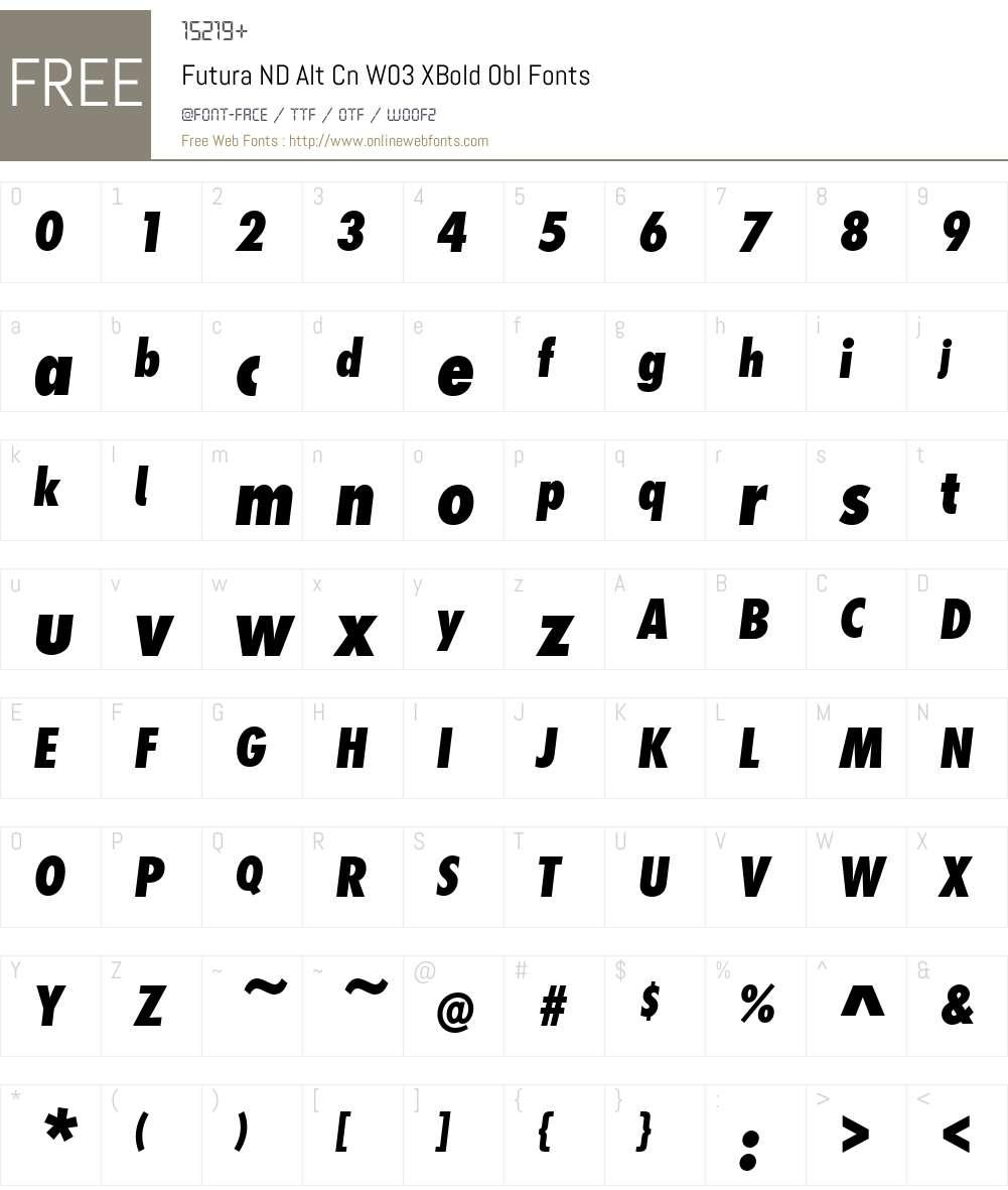 Futura ND Alternate Condensed Font Screenshots