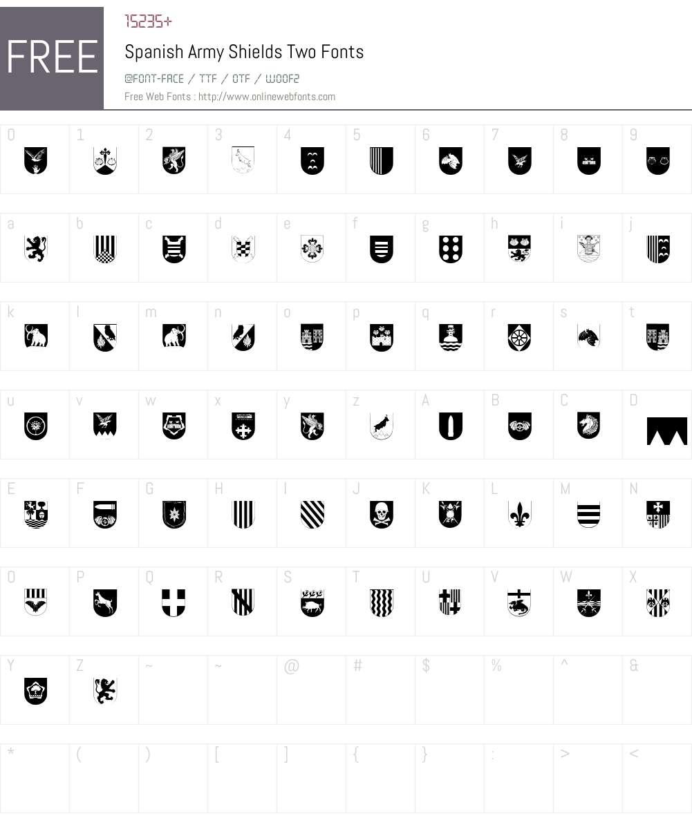 Spanish Army Shields Two Font Screenshots
