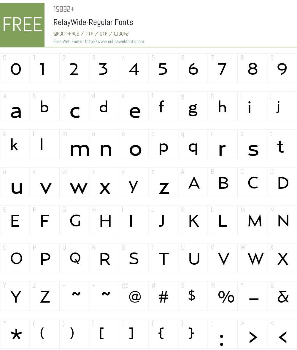 RelayWide-Regular Font Screenshots