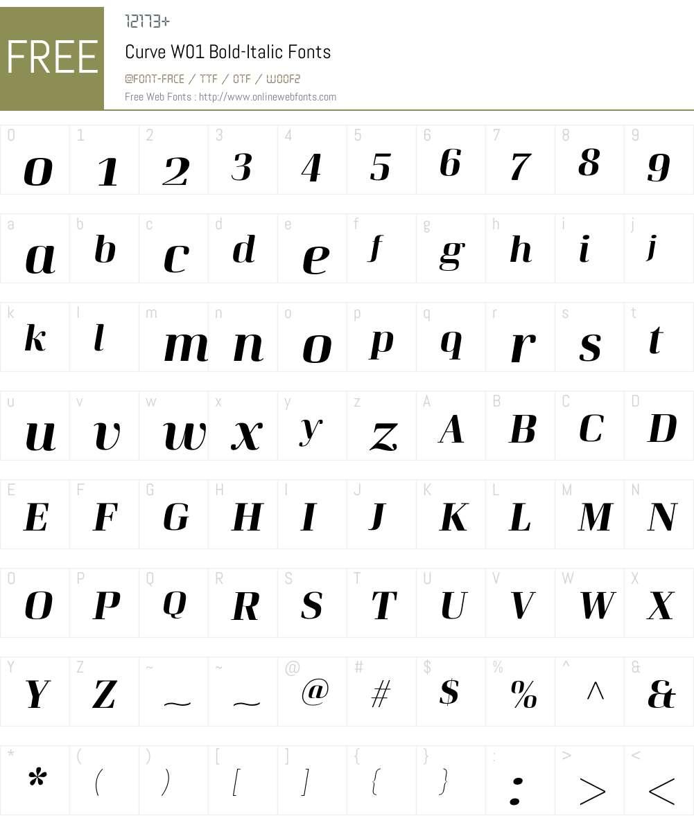 CurveW01-Bold-Italic Font Screenshots