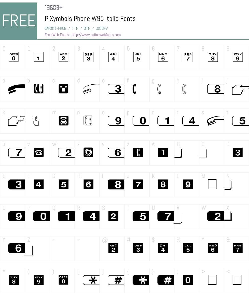 PIXymbolsPhoneW95-Italic Font Screenshots