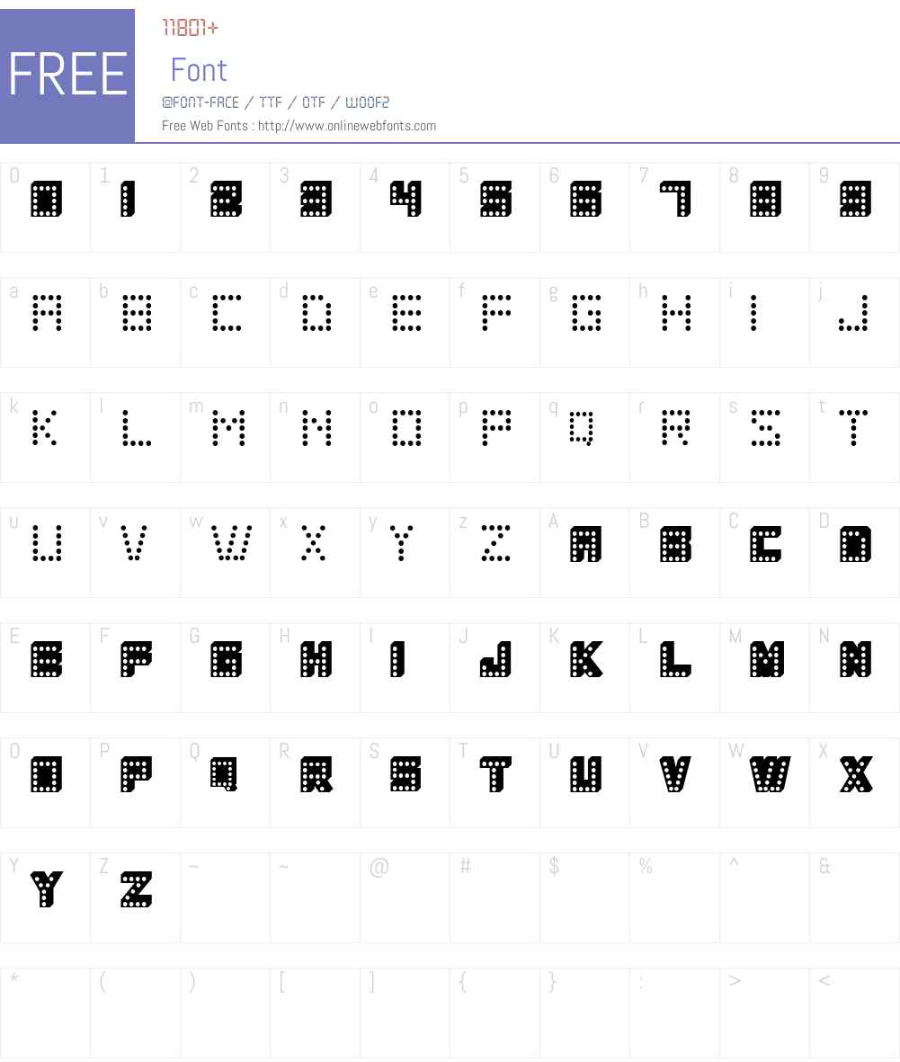 COLOSCOBIK Font Screenshots