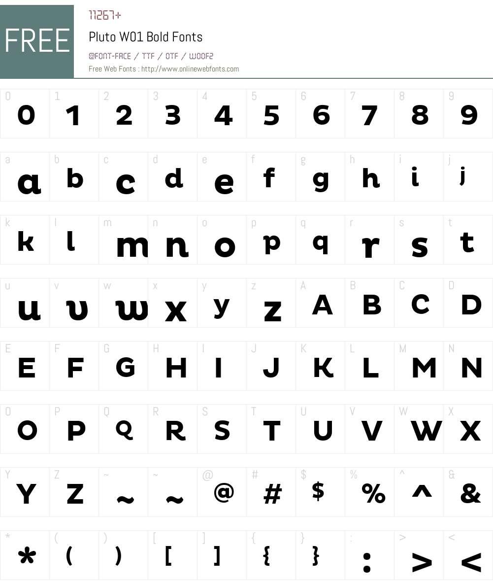 PlutoW01-Bold Font Screenshots