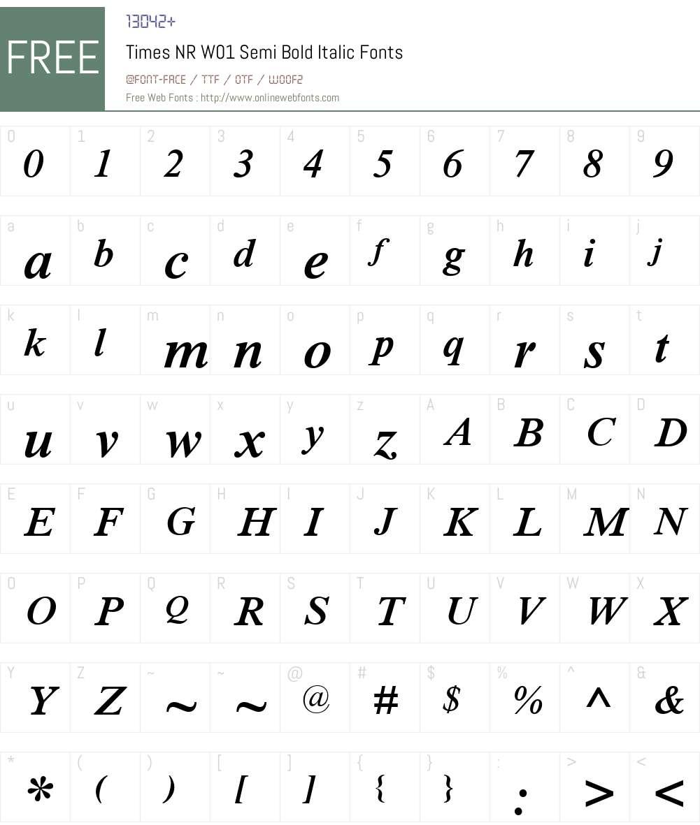 TimesNRW01-SemiBoldItalic Font Screenshots