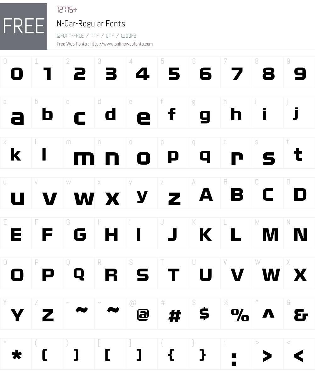 N-Car Font Screenshots