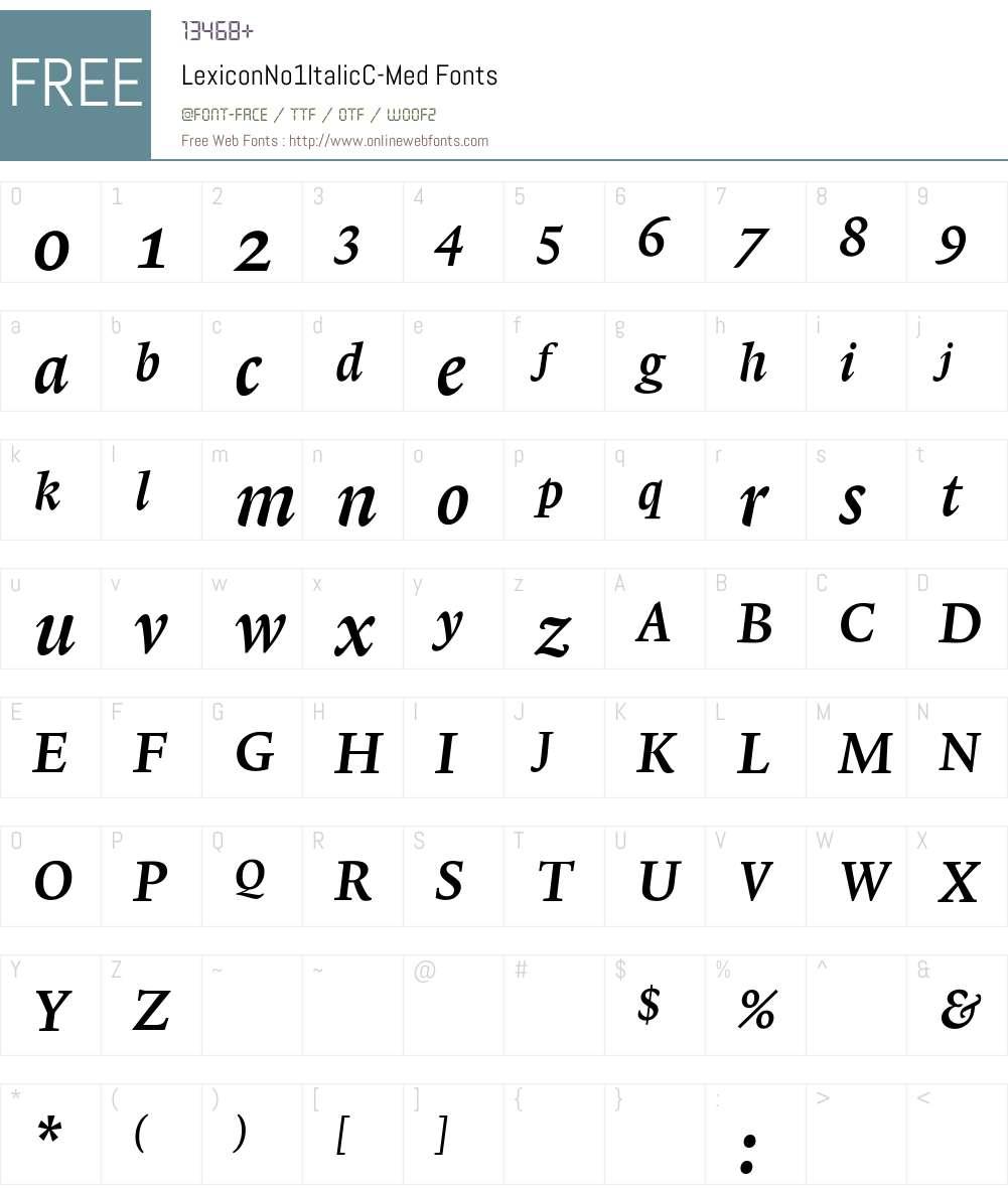 LexiconNo1ItalicC Font Screenshots