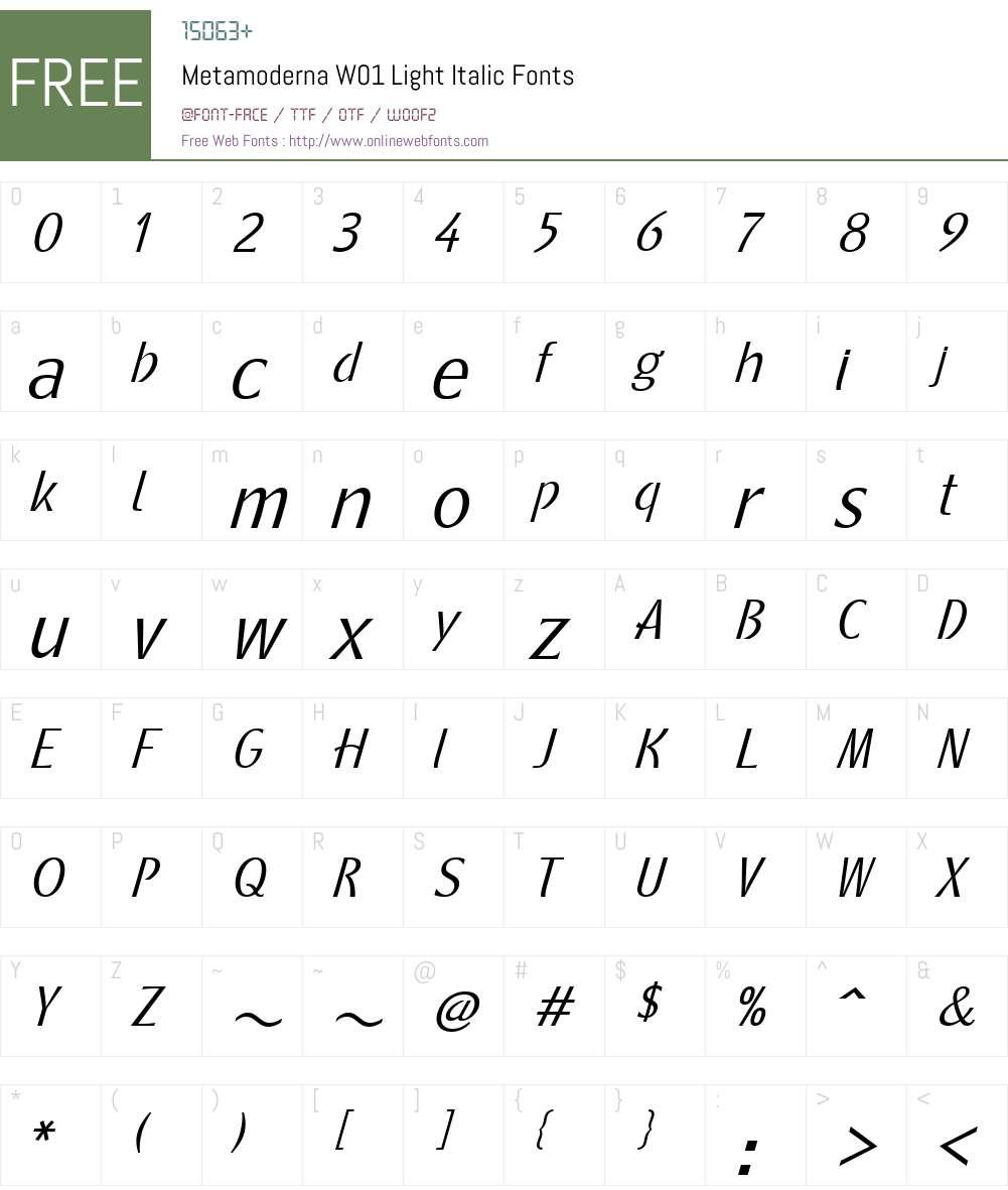 MetamodernaW01-LightItalic Font Screenshots