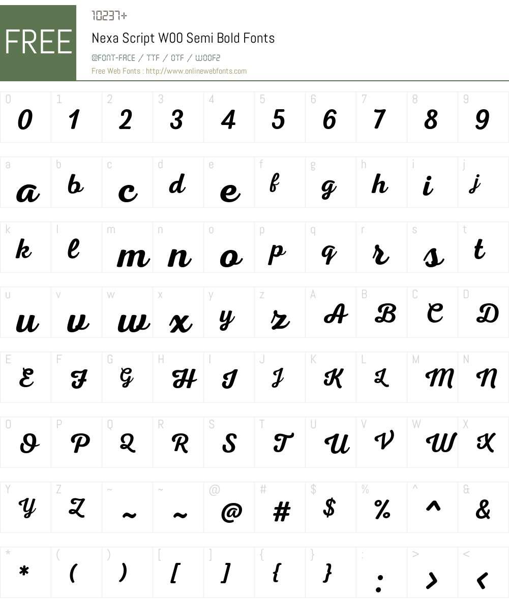NexaScriptW00-SemiBold Font Screenshots