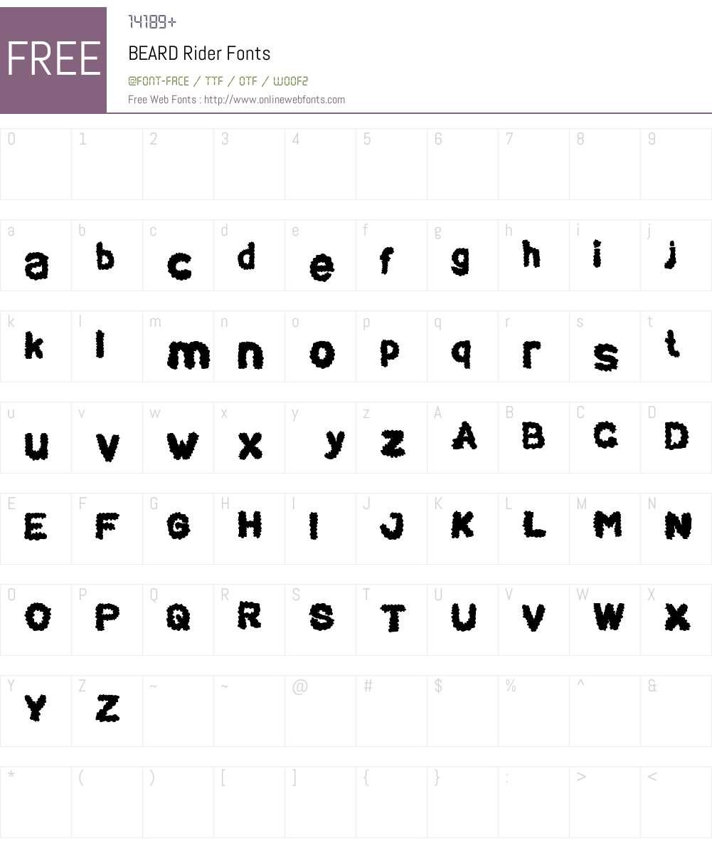 BEARD Rider Font Screenshots
