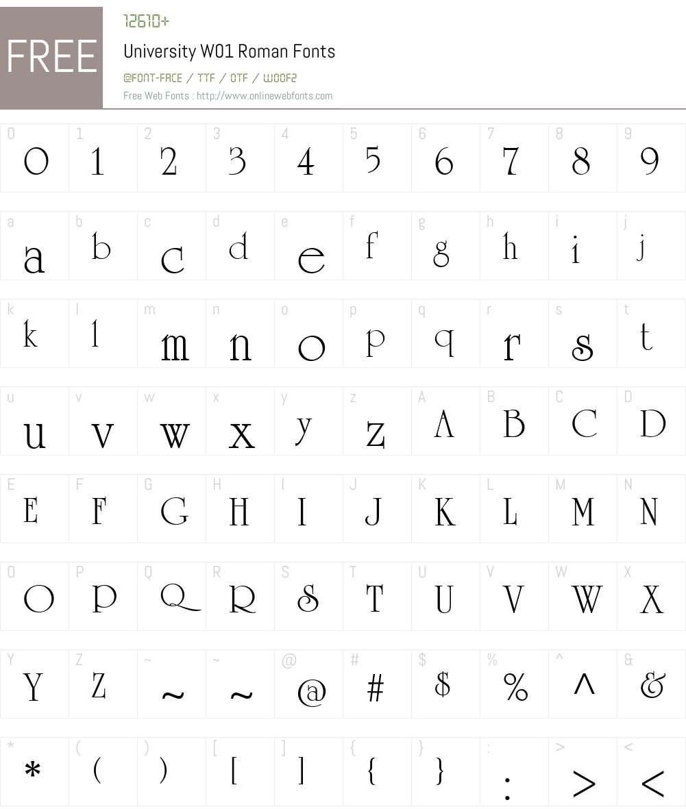 UniversityW01-Roman Font Screenshots
