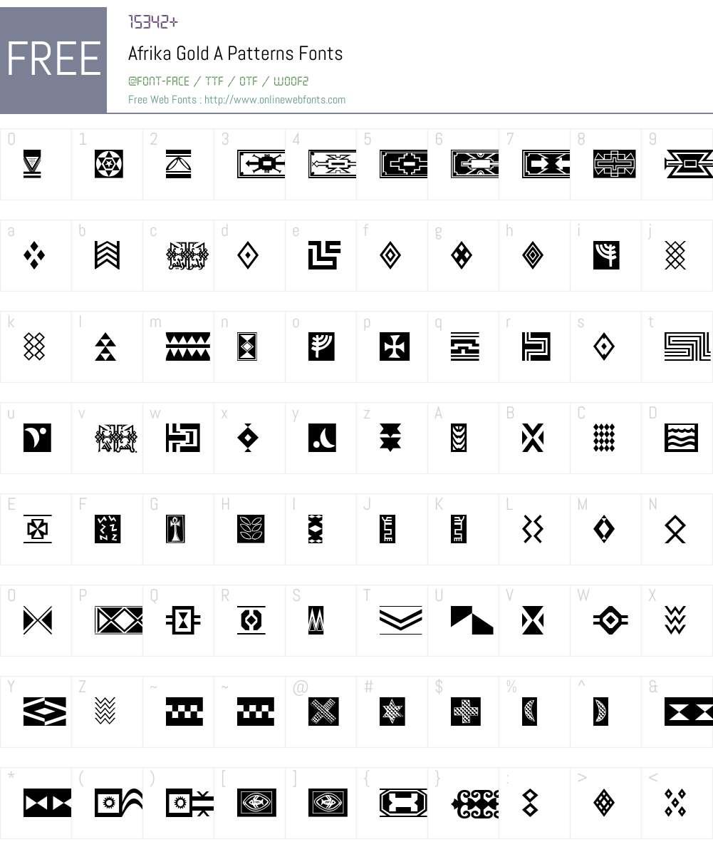 Afrika Gold A Patterns Font Screenshots