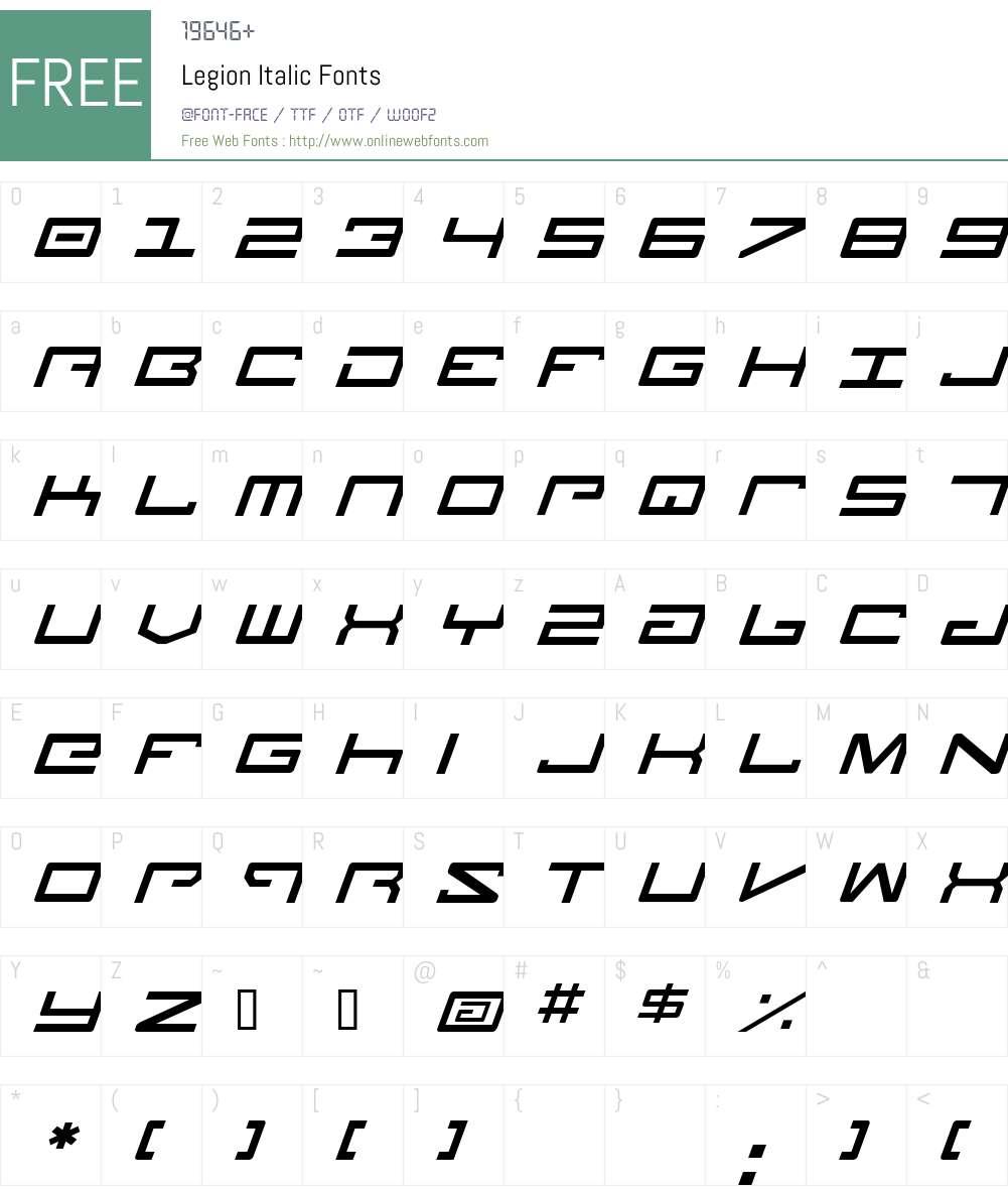 Legion Italic Font Screenshots