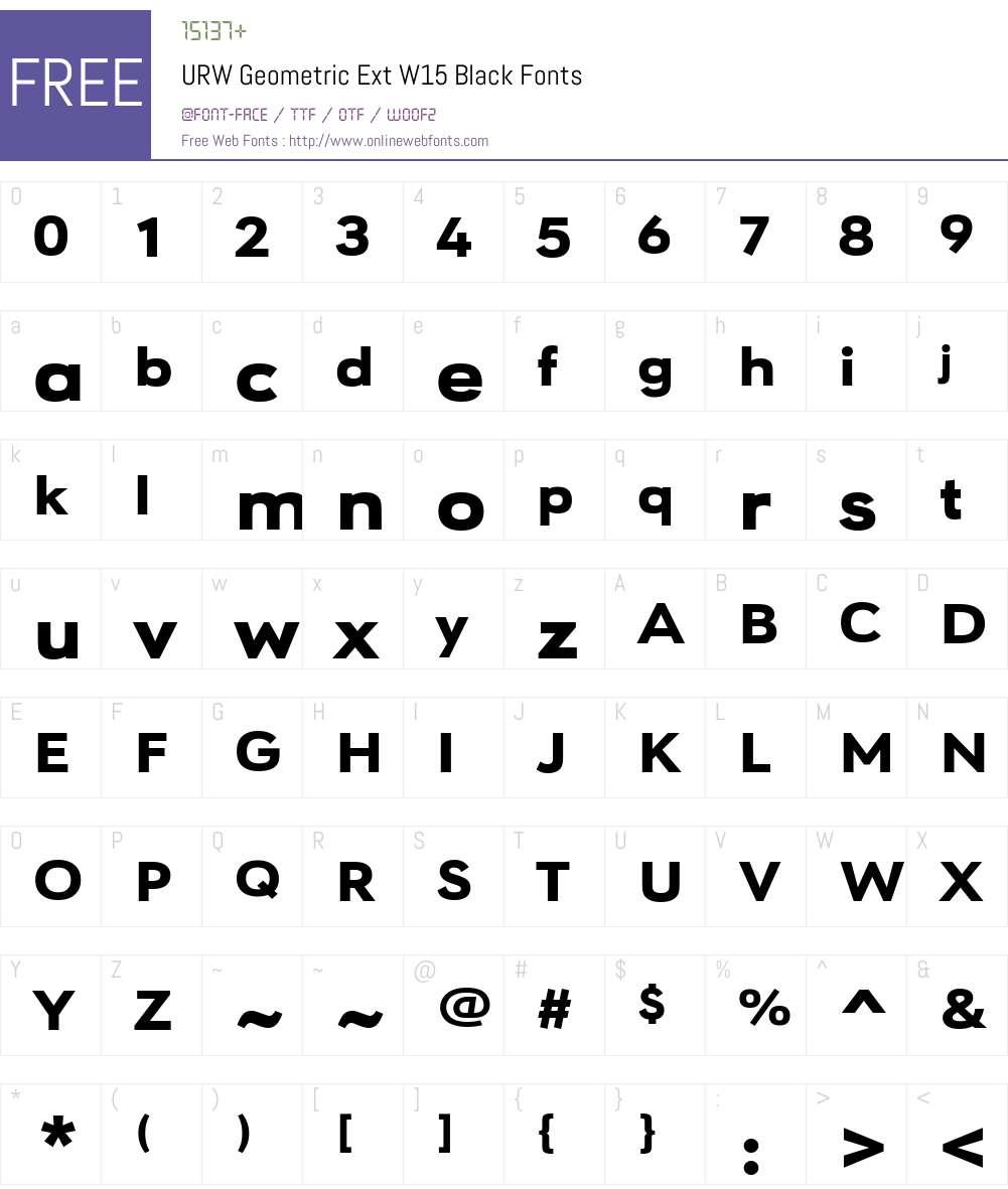 URWGeometricExtW15-Black Font Screenshots