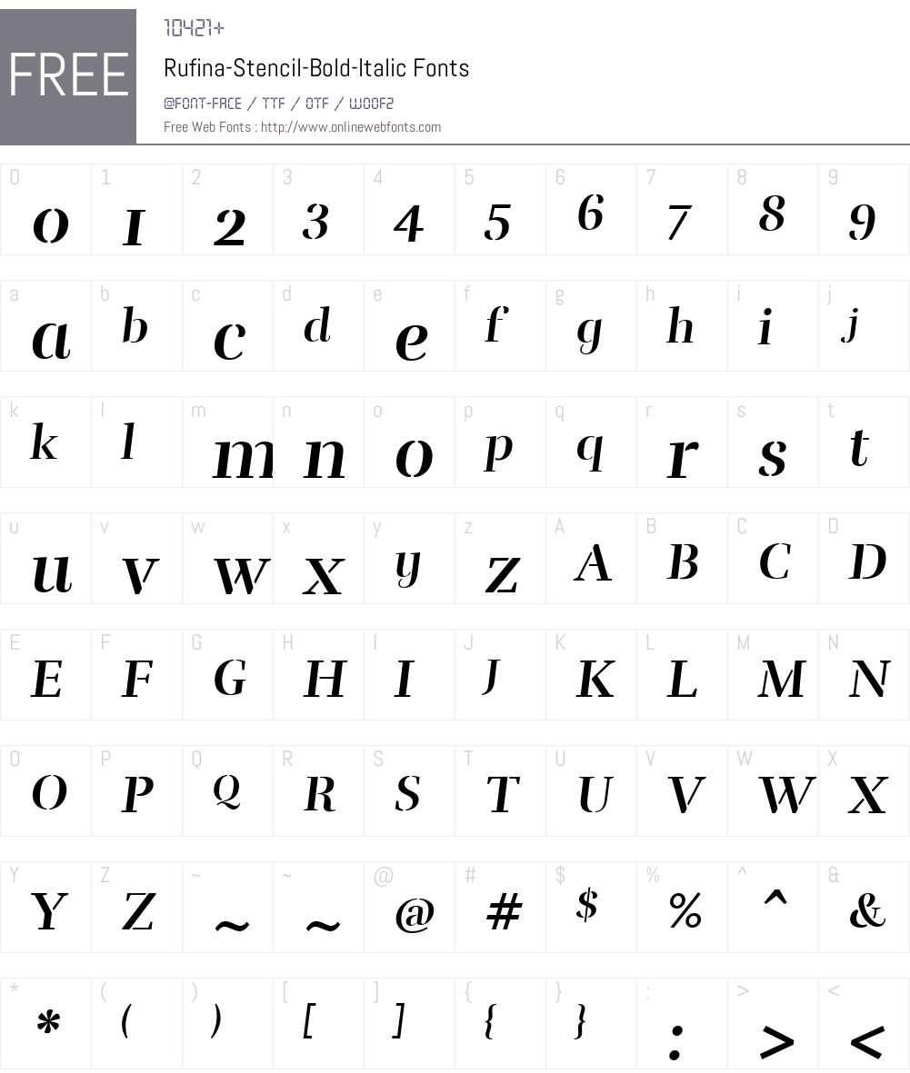 Rufina-Stencil-Bold-Italic Font Screenshots