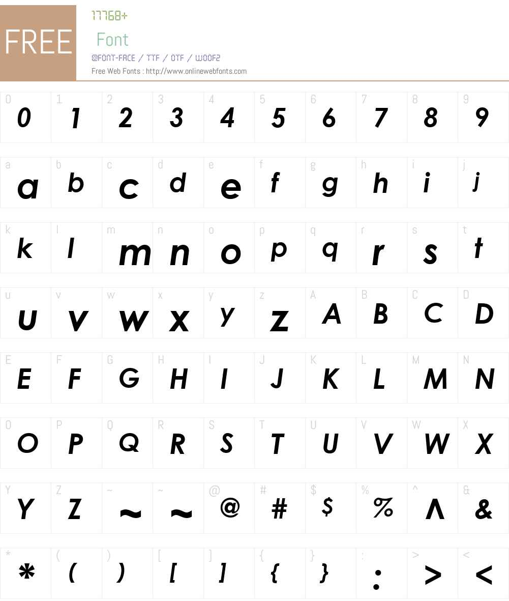 CenturyGothicW01-BoldItalic Font Screenshots