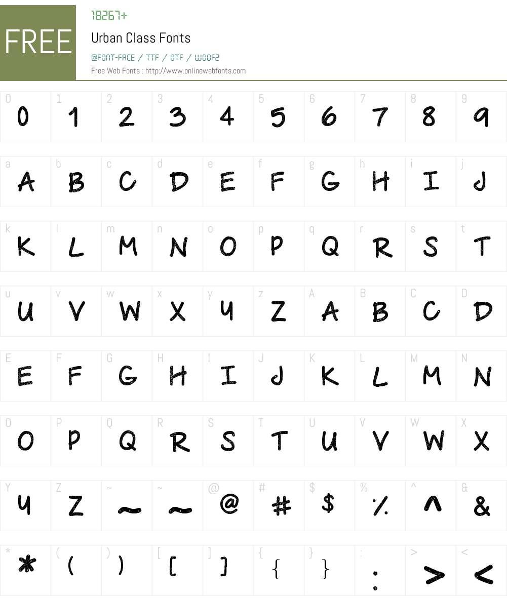 Urban Class Font Screenshots
