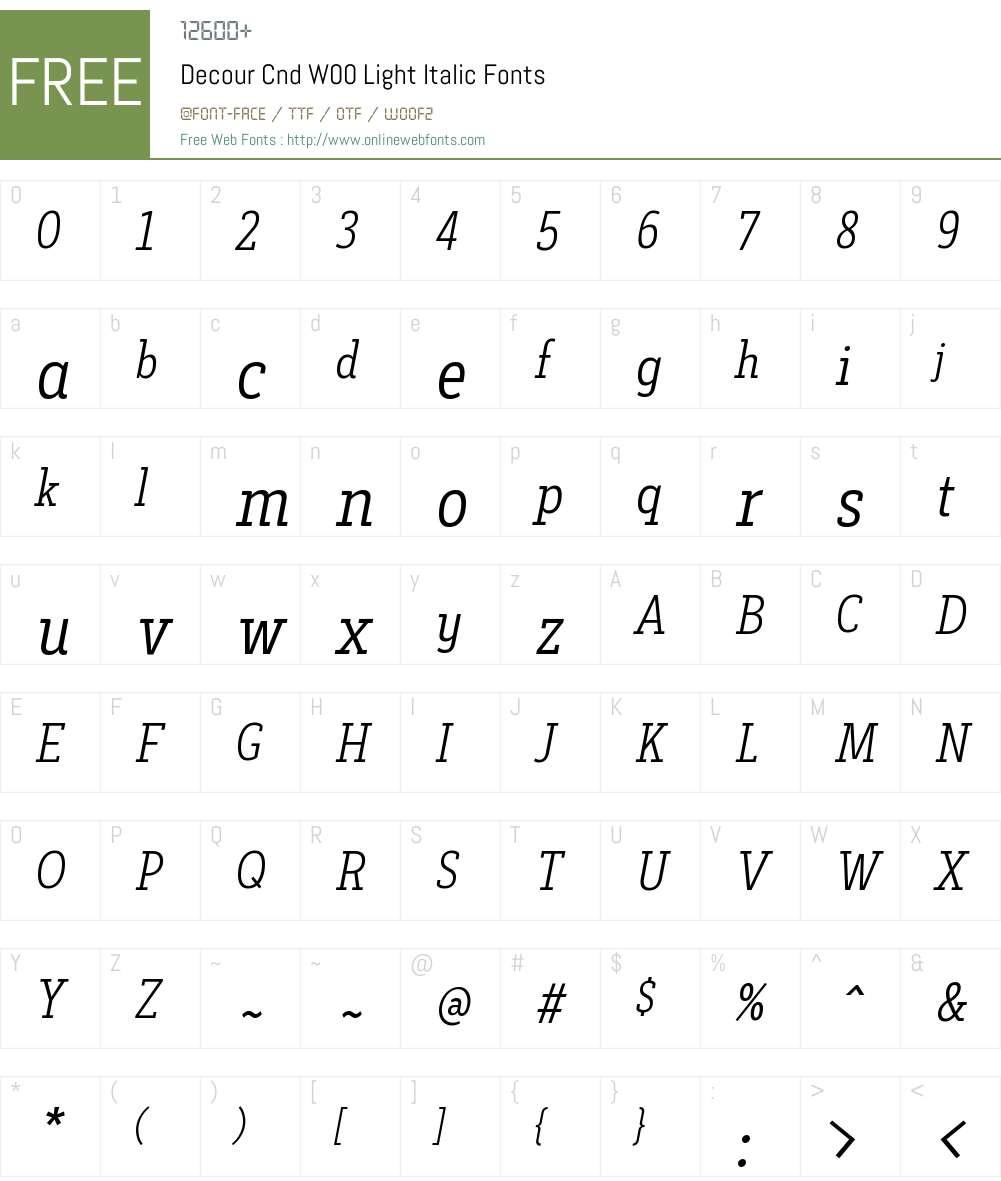 DecourCndW00-LightItalic Font Screenshots
