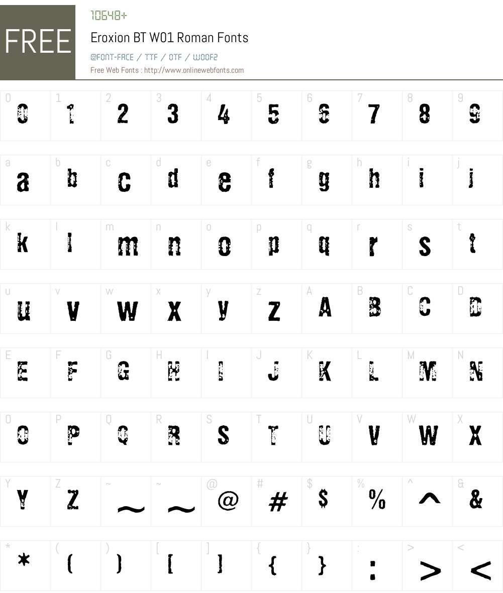 EroxionBTW01-Roman Font Screenshots