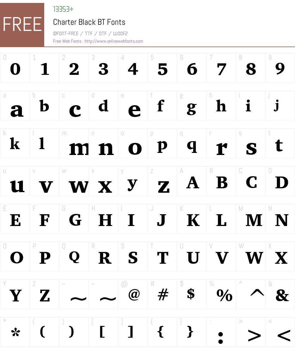 Charter BT Font Screenshots
