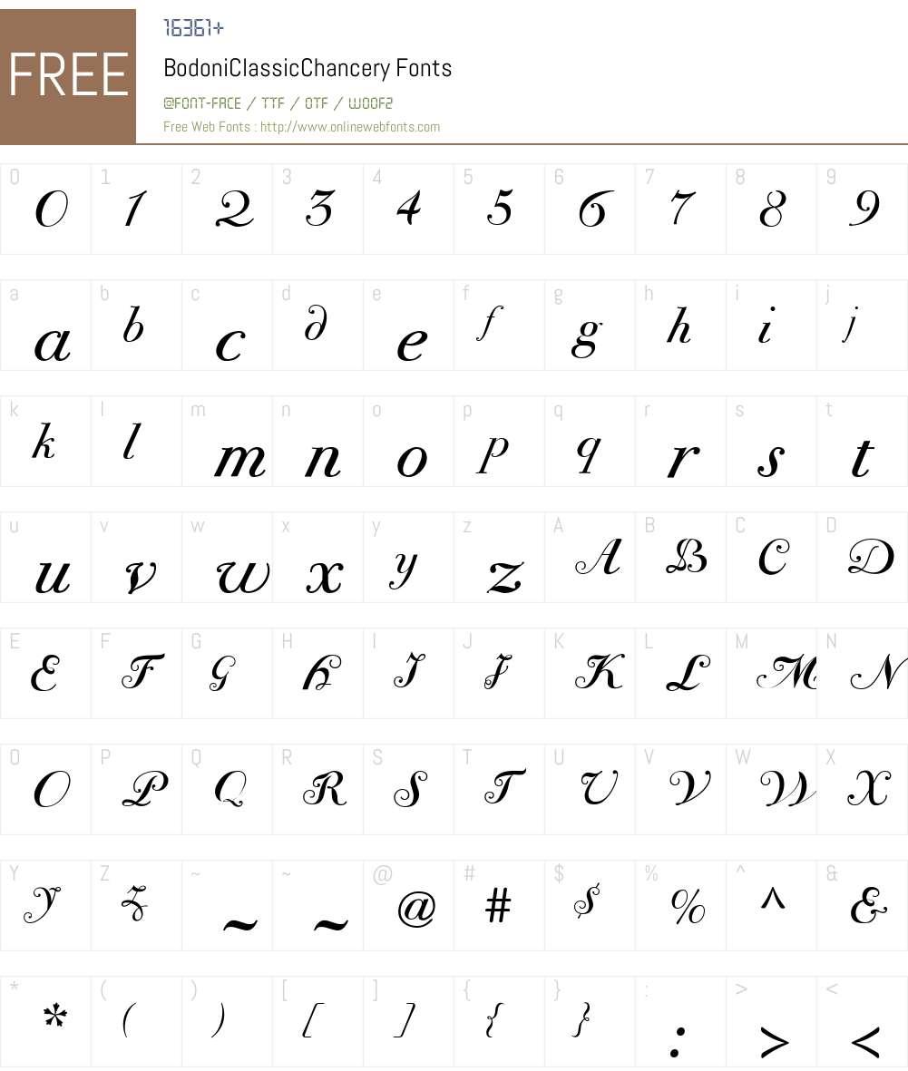 BodoniClassicChancery Font Screenshots