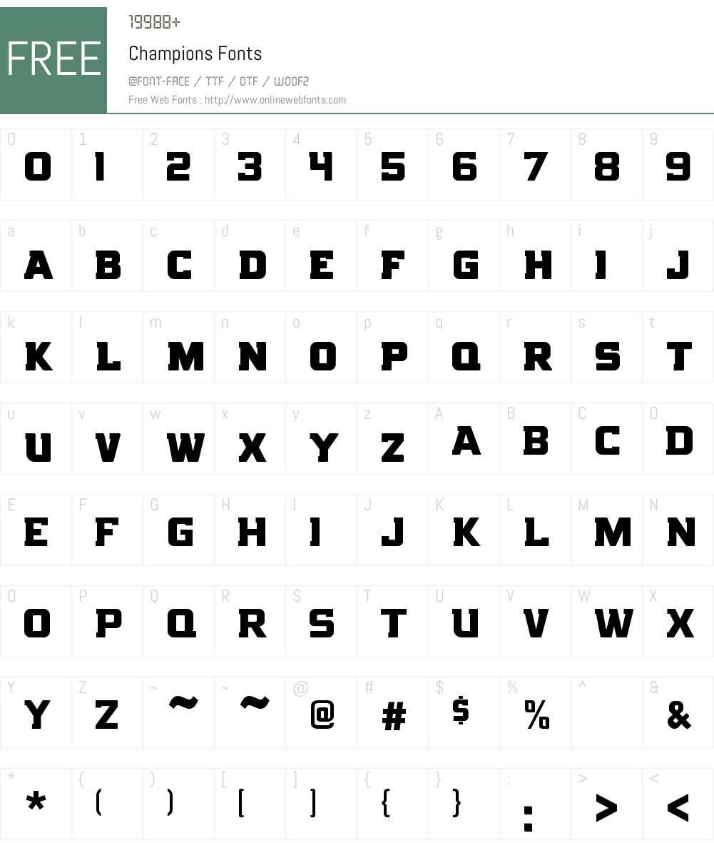 Champions Font Screenshots