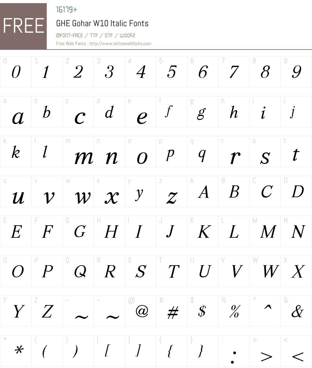 GHEGoharW10-Italic Font Screenshots