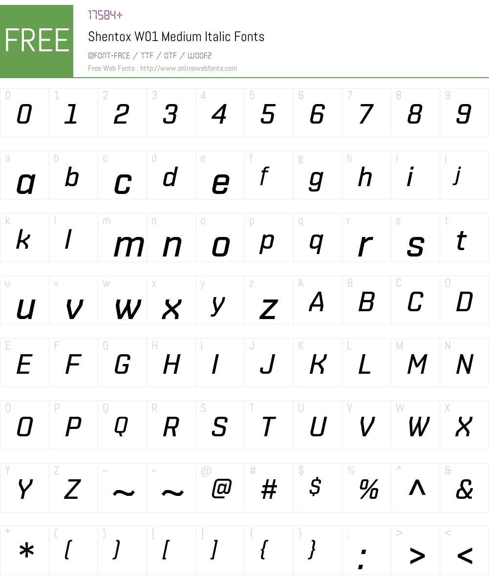 ShentoxW01-MediumItalic Font Screenshots