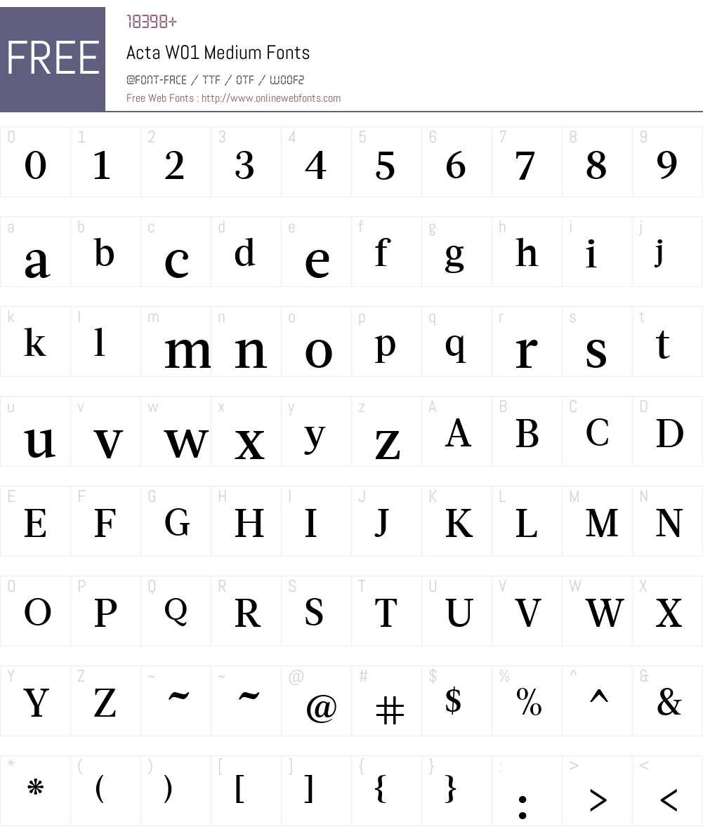 ActaW01-Medium Font Screenshots