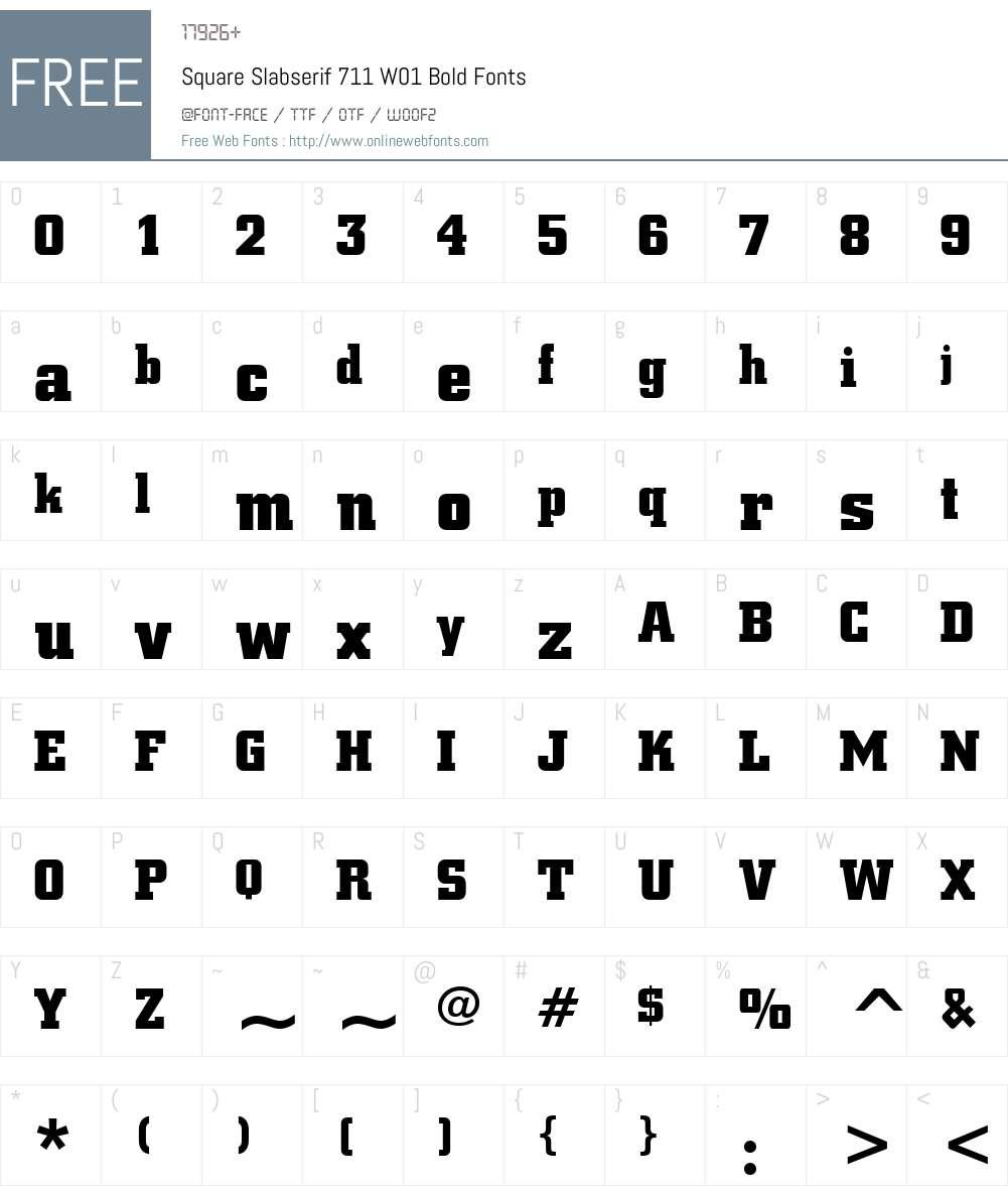 SquareSlabserif711W01-Bold Font Screenshots