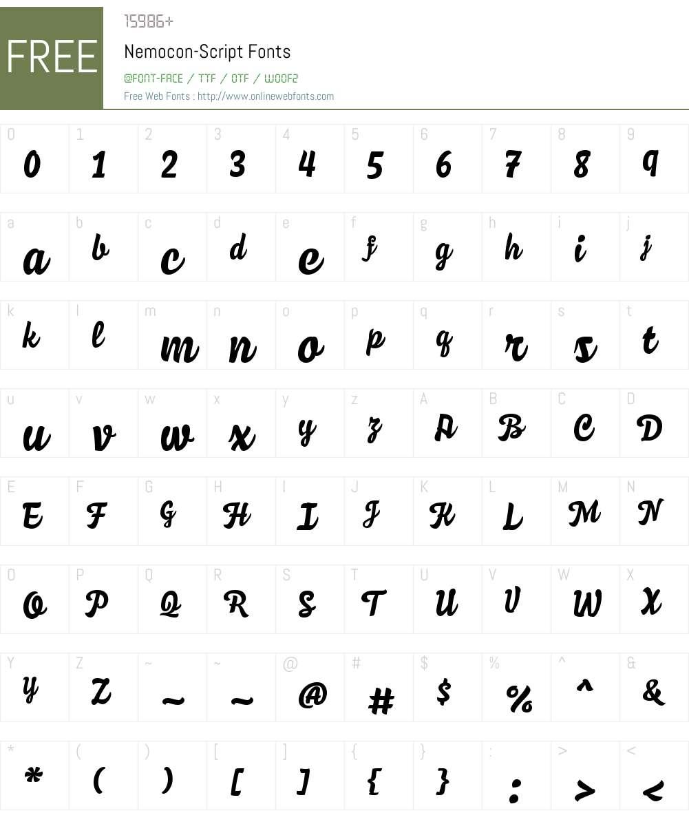 Nemocon Script Font Screenshots