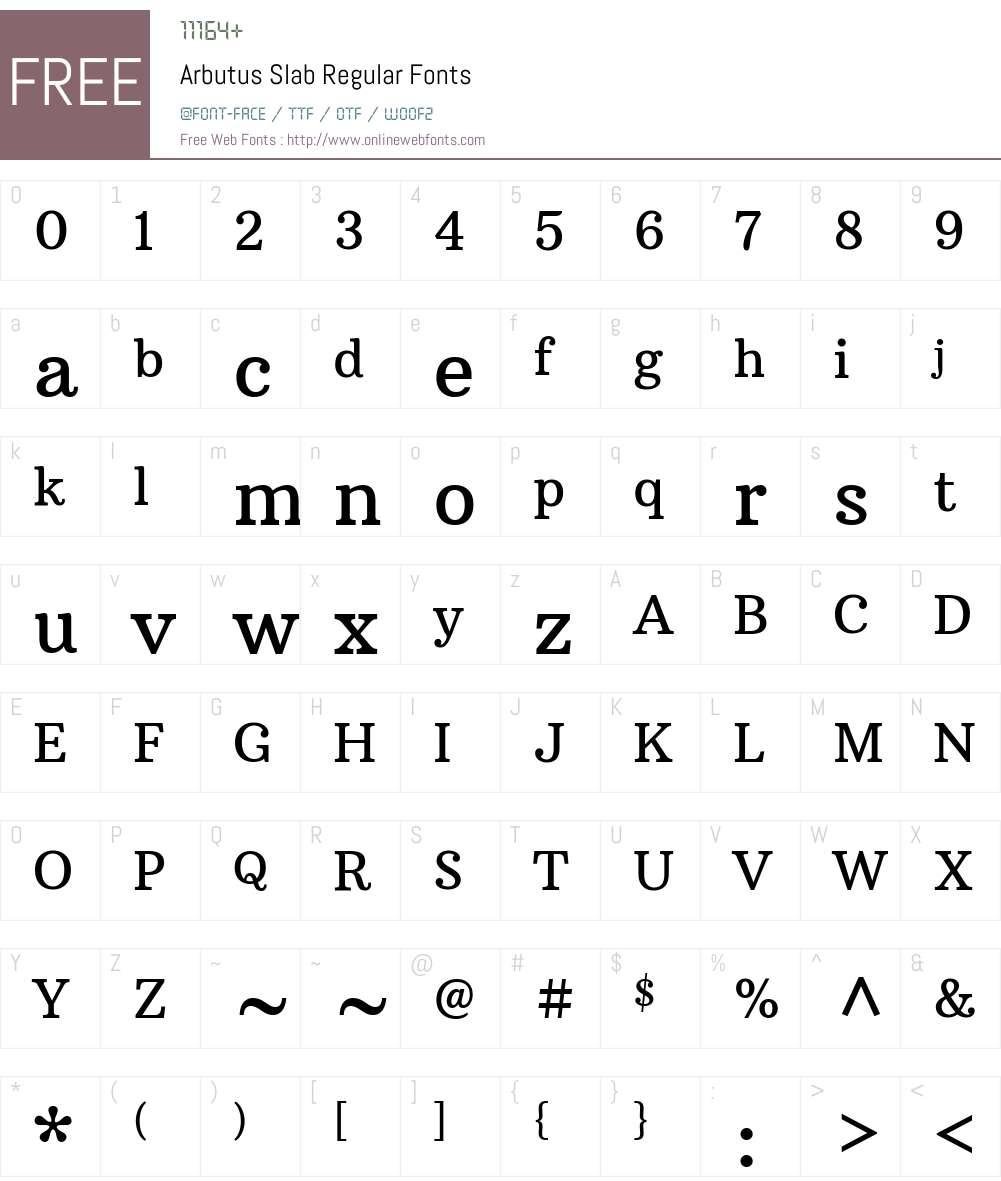 Arbutus Slab Font Screenshots
