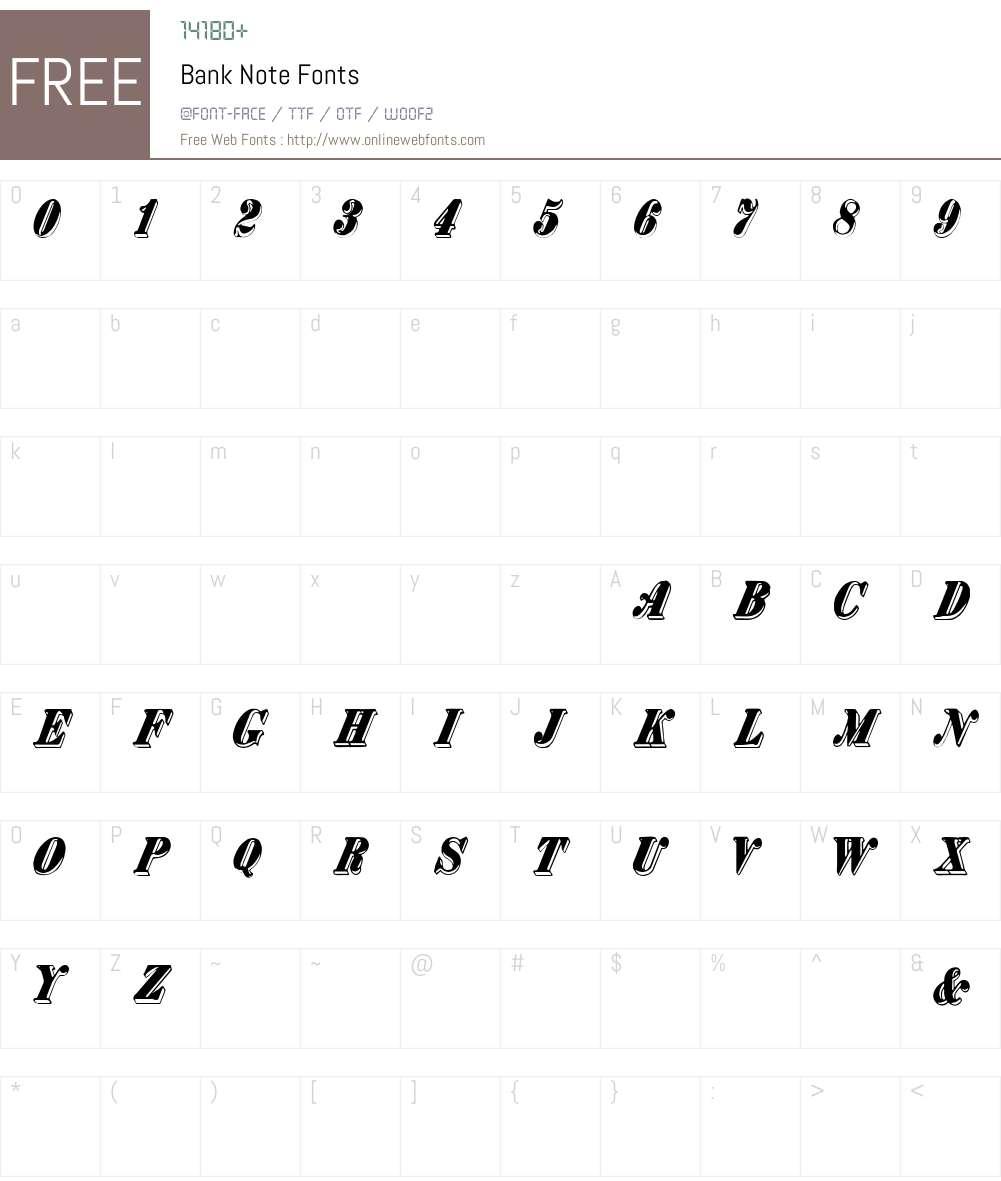 Bank Note Font Screenshots