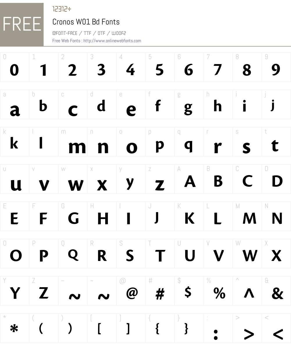 CronosW01-Bd Font Screenshots
