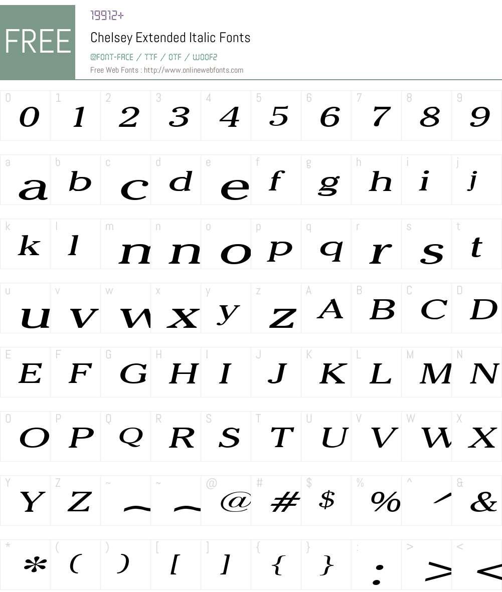Chelsey Extended Font Screenshots