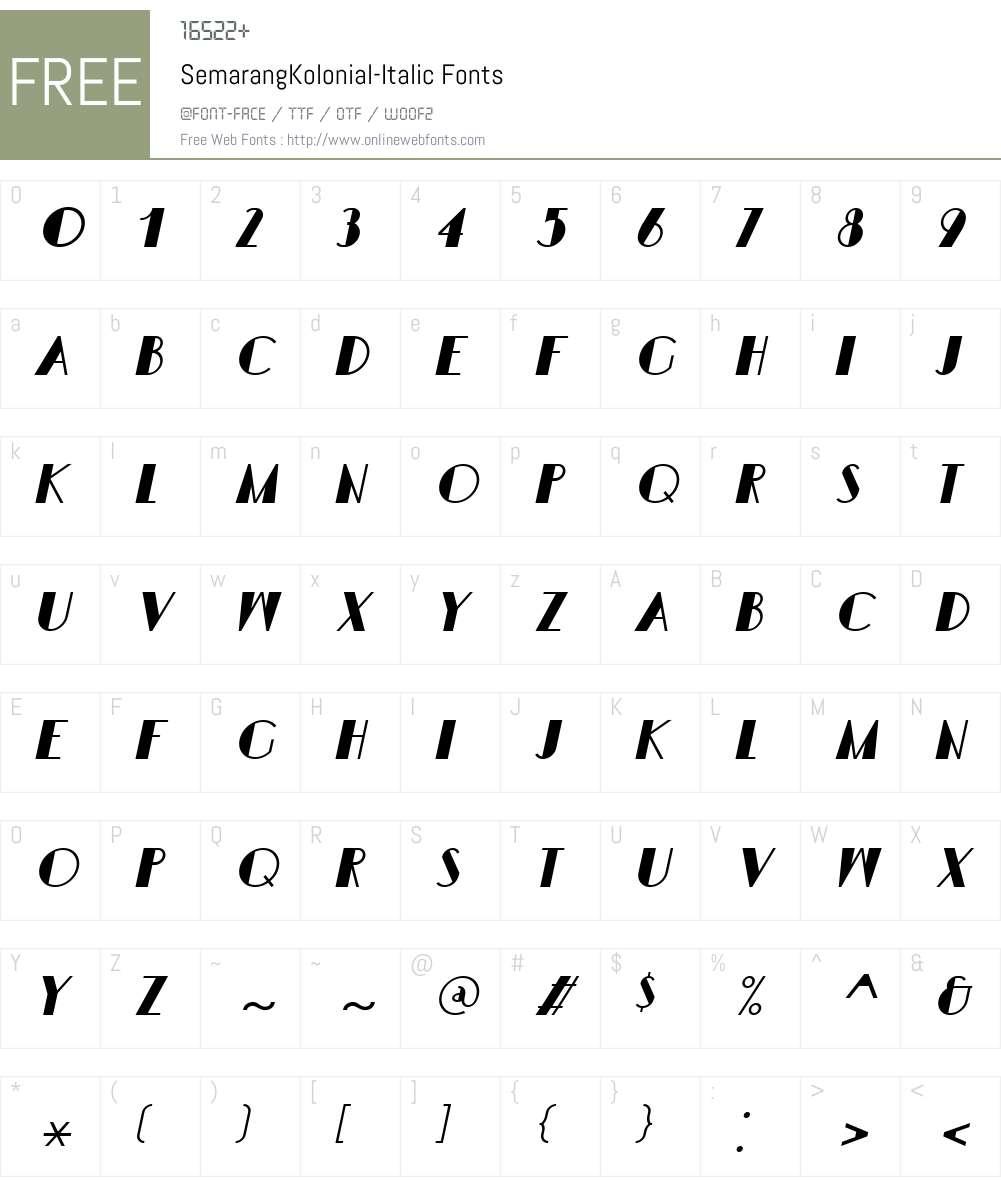 SemarangKolonial-Italic Font Screenshots