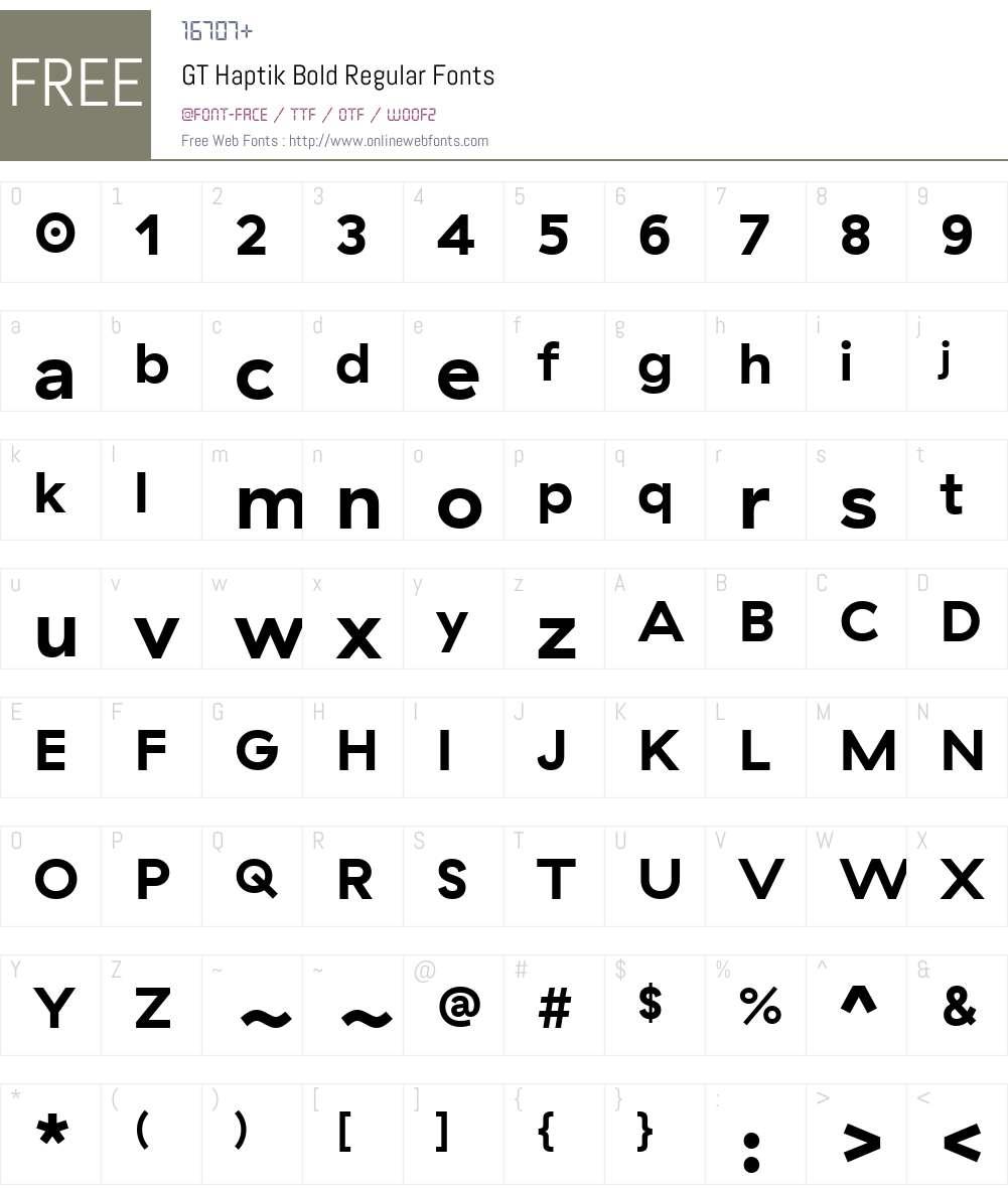 GT Haptik Bold Font Screenshots