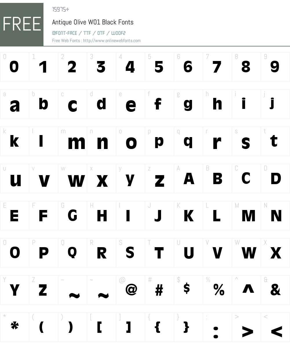 AntiqueOliveW01-Black Font Screenshots