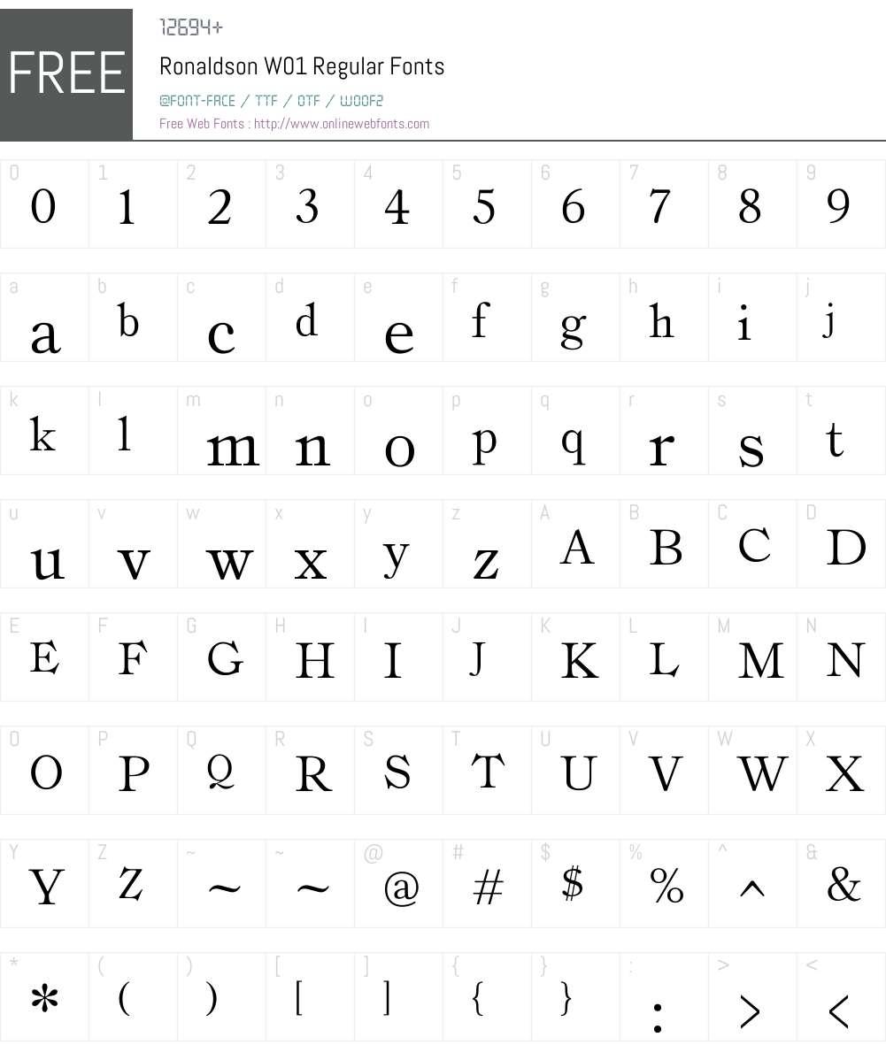 RonaldsonW01-Regular Font Screenshots