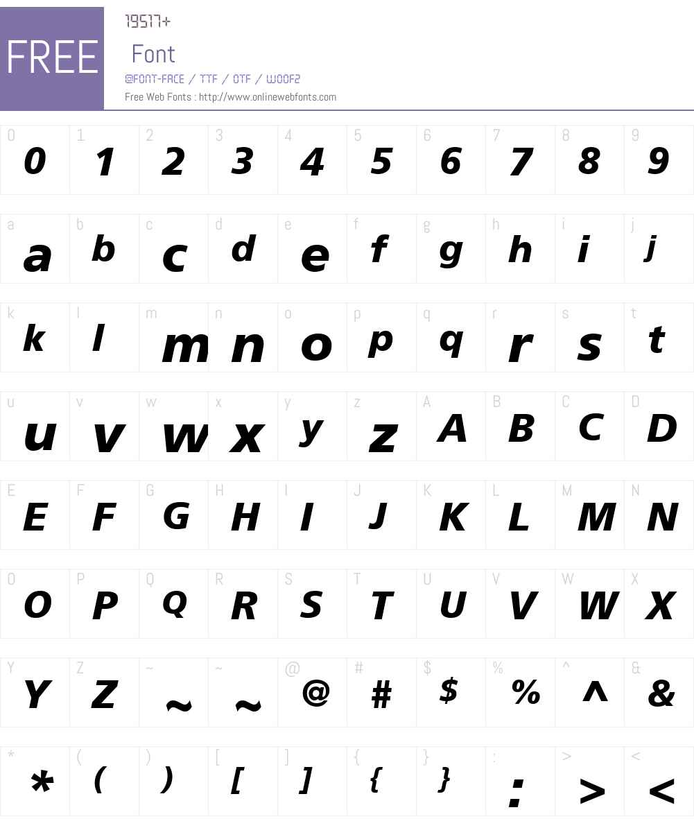 FreeSetW01-BoldOblique Font Screenshots