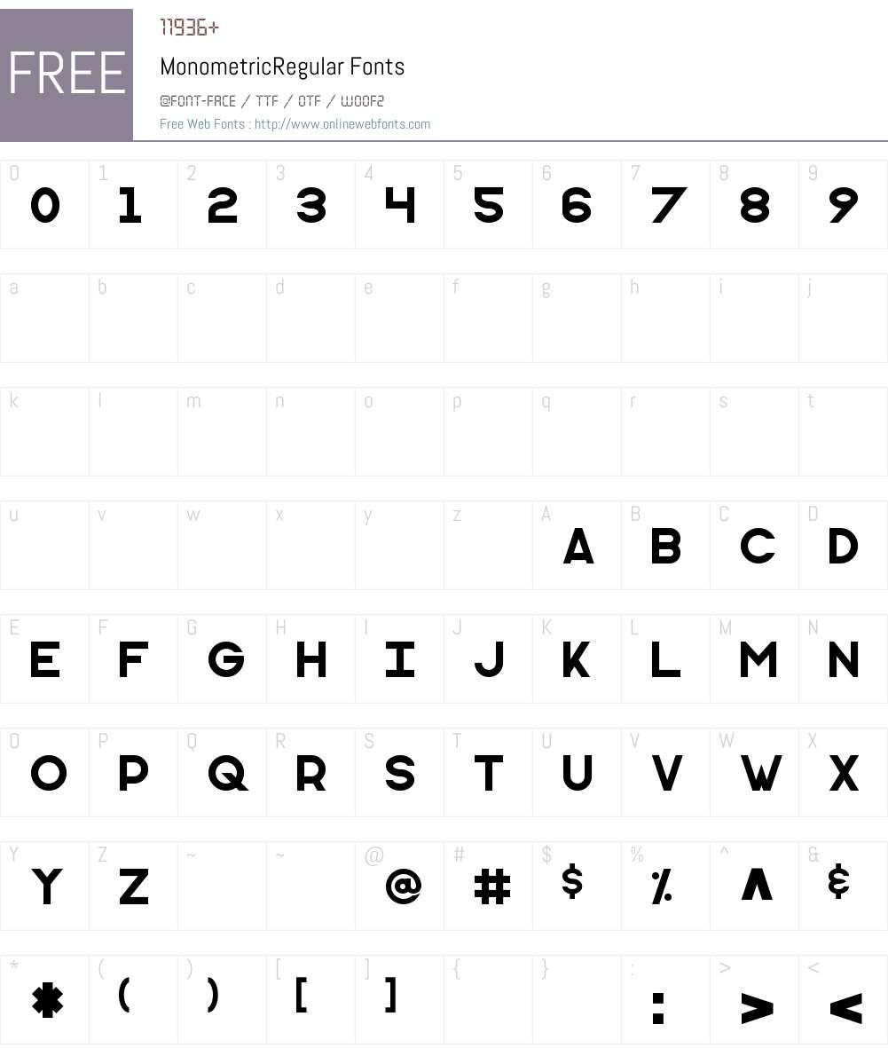 Monometric Font Screenshots