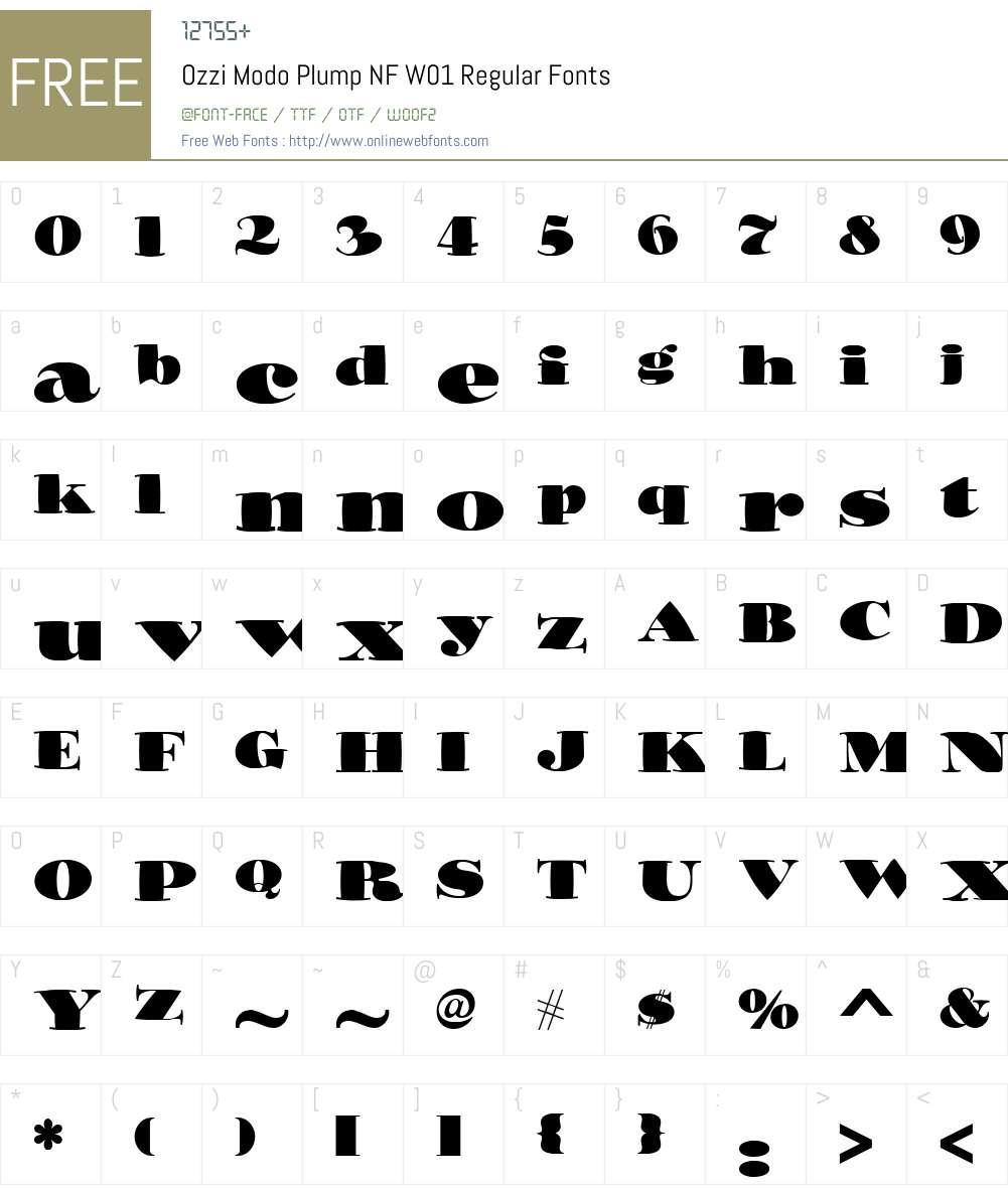 OzziModoPlumpNFW01-Regular Font Screenshots