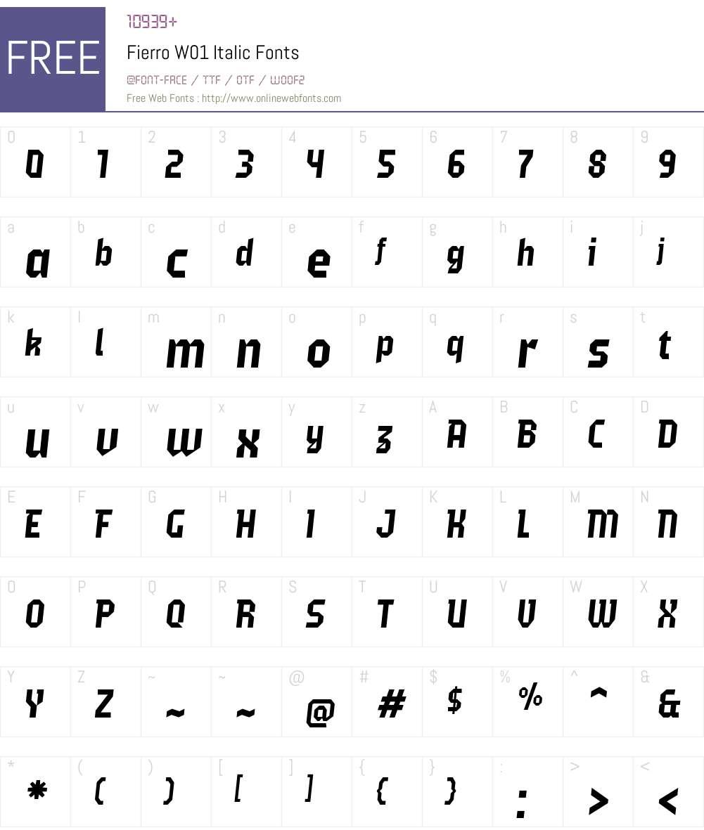 FierroW01-Italic Font Screenshots