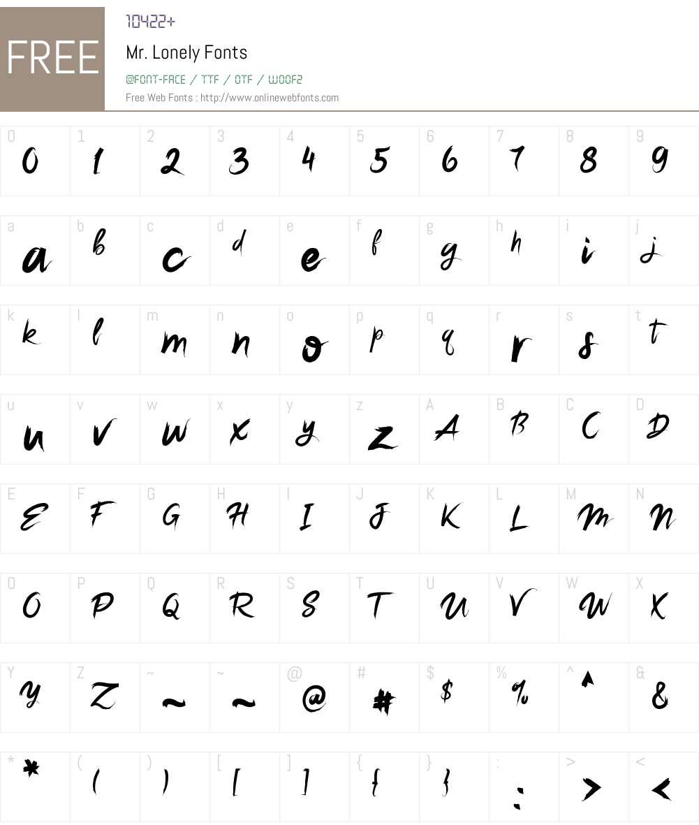 Mr. Lonely Font Screenshots