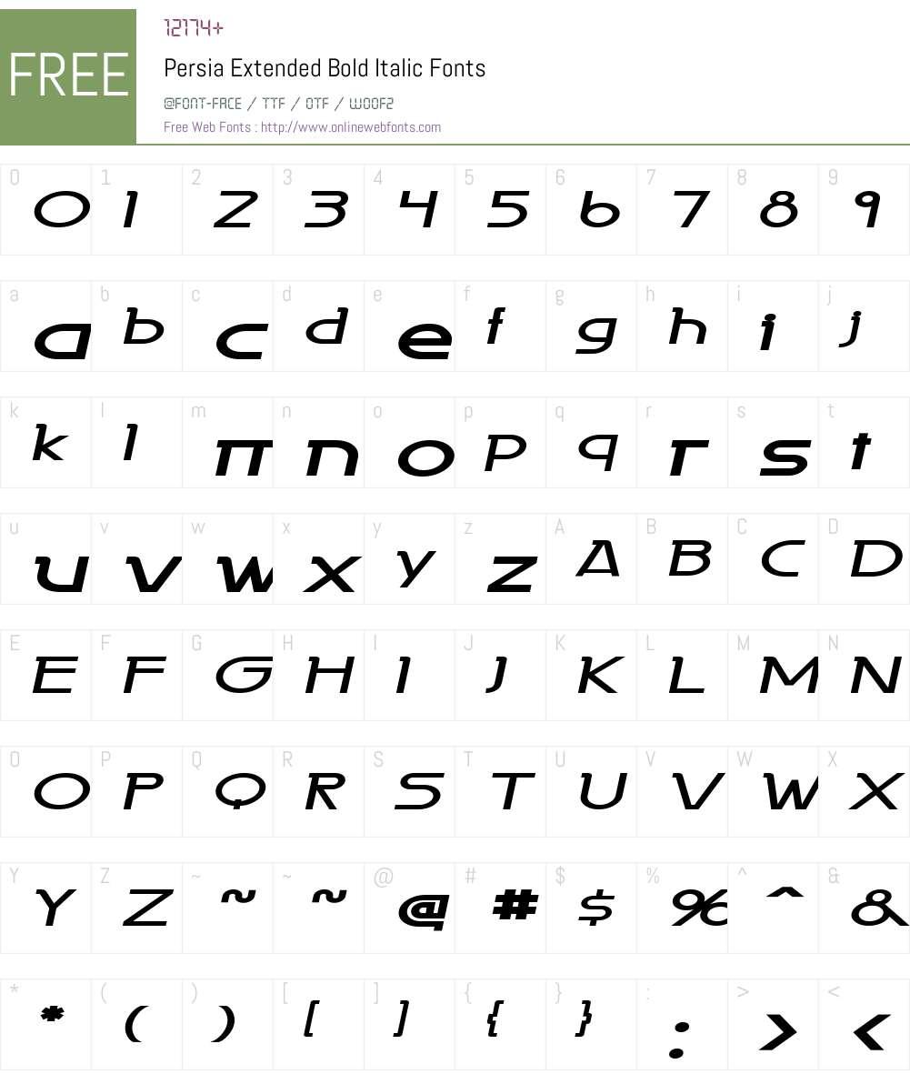 Persia Extended Font Screenshots