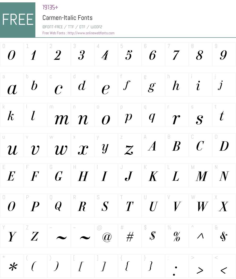 Carmen-Italic Font Screenshots