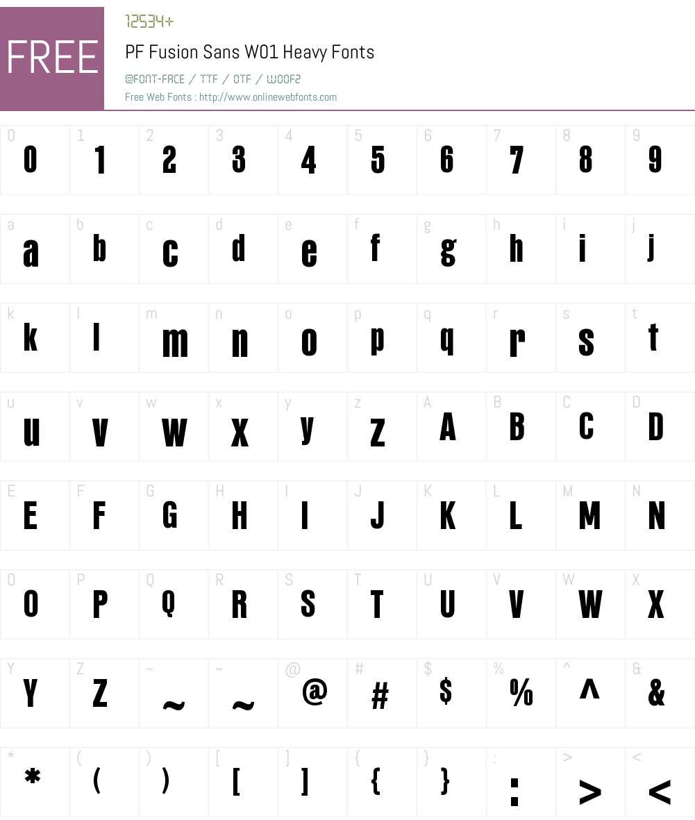PFFusionSansW01-Heavy Font Screenshots