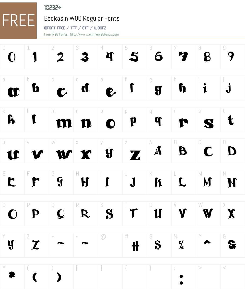 BeckasinW00-Regular Font Screenshots