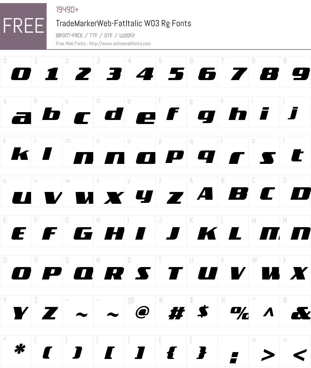FF TradeMarker Font Screenshots